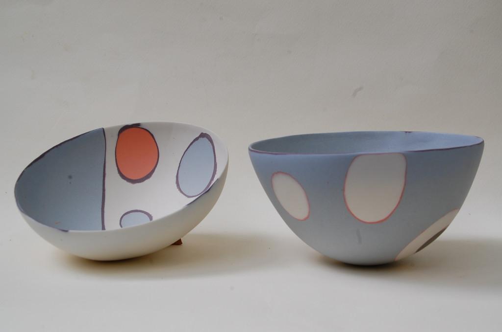 Slab built coloured porcelain - Lavorazione a strati di porcellane colorate Sara Kirschen