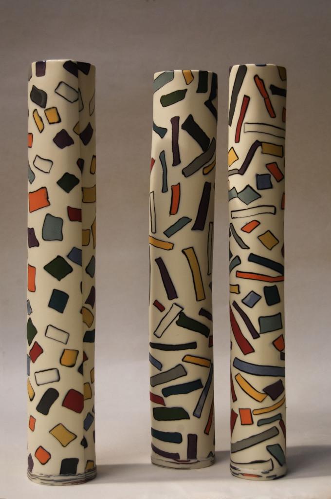 slab built coloured porcelain Sara Kirschen